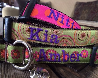 "Med or Lg Personalized Dog Collar Any Pattern, Name Color, and 1"" Width Size. Dog Gone It. Embroidered Dog Collar. Custom Dog Collar."