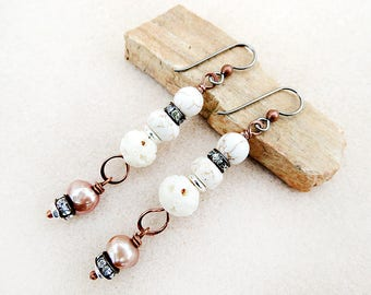 Copper Earrings, Cream, White, Howlite, Carved Bone, Freshwater Pearl, Rhinestones, Niobium Earrings, Handmade, Gift for Her, Gift for Woman