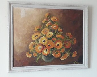 Stunning original vintage oil painting on board in painted carved wooden frame.