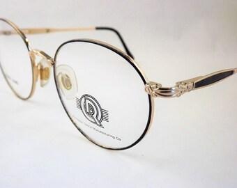Womens Metal Eyeglasses, Gold Oval Round Eyeglasses, Blue Tortoise Shell Glasses, Flexible Temple Arms, Steampunk Glasses, Vintage NOS
