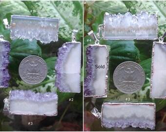 Amethyst Slice Pendant Silver Plated