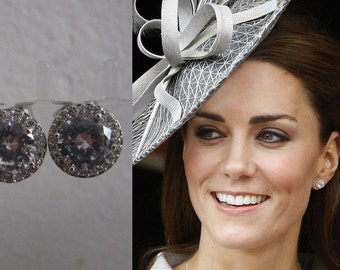 Kate Middleton Duchess of Cambridge Inspired Replikate Stud Earrings Silver Clear Crystal Earrings