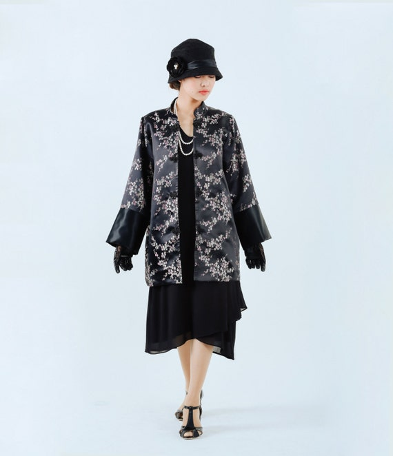 Vintage Coats & Jackets | Retro Coats and Jackets Black flapper jacket 1920s oriental jacket $145.00 AT vintagedancer.com