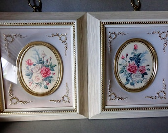 Vintage E Serton Roses Pictures shadow box style B1 No 1 & No 2 square shape Gold Grey Pink Green colors