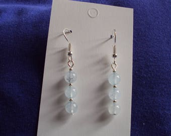 Handcrafted Naural Aquamarine Drop Earrings. 925 Sterling Silver Hooks