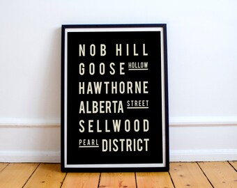 Portland - Subway Sign - Typography Poster - City Map - Home Decor -  Modern - Vintage Style - Industrial Chic