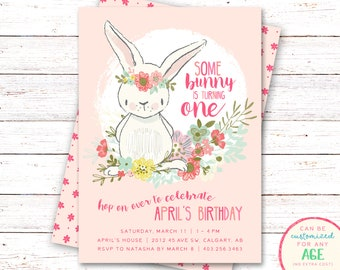 Bunny Birthday Invitation, Bunny Invitation, First Birthday Invitation, Bunny Birthday Invitations, Bunny Birthday Invitation, Floral Invite