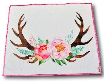 Woodland Baby Quilt * Deer Quilt * Woodland Nursery * Woodland Baby Girl * Antlers Quilt * Woodland Crib * Antlers Nursery * Woodland Theme
