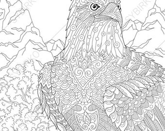 Swan. 2 Coloring Pages. Animal coloring book pages for Adults.