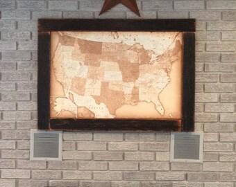 Push Pin Travel Map, USA Map, Framed Push Pin Map, Wall World Map