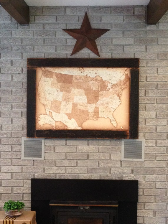 Push pin travel map usa map framed push pin map wall world like this item gumiabroncs Gallery