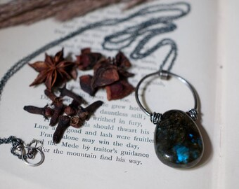 Labradorite tumble stone pendant, sterling silver wire wrapped labradorite pendant, oxidised 925, blue flash labradorite, long necklace.