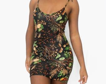 Woodland Tie Up Bodycon Cami Mini Dress
