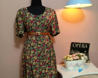 Dress, Clothing, Vintage Dress, Dresses, 70s,70's Dress, 1970 Dress, Vintage Dress, 70's Flower Vintage Dress For Women 1970s, Free Shipping