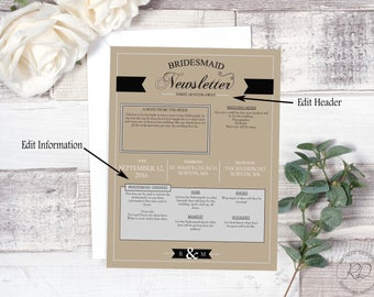 Bridesmaid Newsletter. Simply Charming. Layout 3. Instant Download. Wedding Newsletter. Editable.