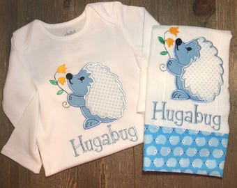 Personalized Hedgehog onesie® and burp cloth  // Personalized Porcupine onesie® and burp cloth // Custom // Blue and white // Embroidered