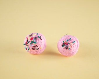 Strawberry Pastel Pinkie Faux Scoop of Ice Cream + Multi-Colored Sprinkles Clip-On Earrings
