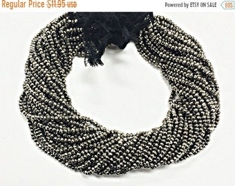 25% OFF 3.3mm Black Coated Pyrite Faceted Rondelle Gemstones Beads Full Strand 13.5 Inch - Silver Grey Black -  SPYR104