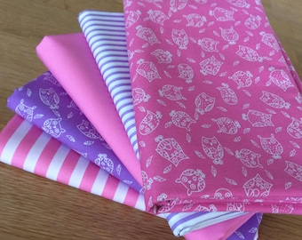 LITTLE OWLS Fat Quarter Bundle 100% craft cotton Blenders Pink Lavender