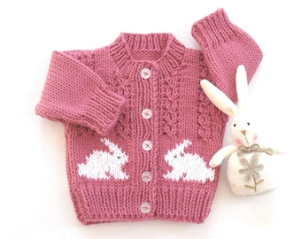 Pink baby cardigan with bunnies - Baby girl bunny sweater - Baby shower gift - Baby sweater with bunnies - Knitted baby clothes