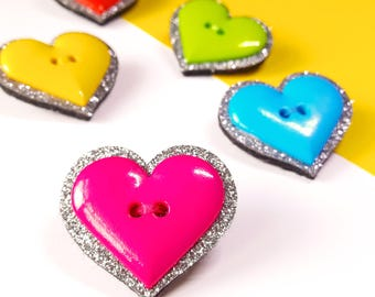 Felt Brooch - Glitter Heart Felt Brooch - Heart Shaped Pin - Heart Jewelry - Colourful Brooch