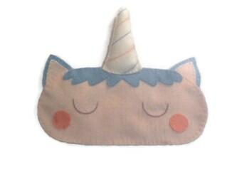 Unicorn sleep mask, Unicorn eye mask, Unicorn gift, Women's sleep mask. Girl's sleep mask,  Felt eye mask, Sleeping aid, Cute sleep mask