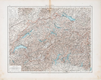 Map of Switzerland / Color map / Original / German World Atlas 1896 / Big / 22.5 x17.5 in