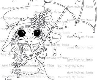 DESCARGA instantánea Digital Digi sellos ojo grande Big Head Dolls Digi Raning copos de nieve por Sherri Baldy