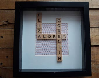 Frame names with letters scrabble wooden way crossword customizable (size, color, pattern...)