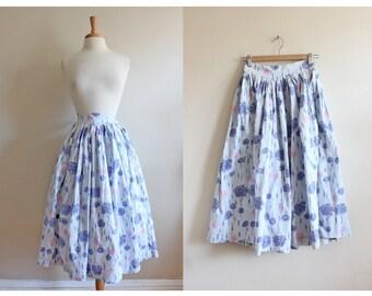 Vintage Purple & Pink Hydrangea Floral 1950s Skirt