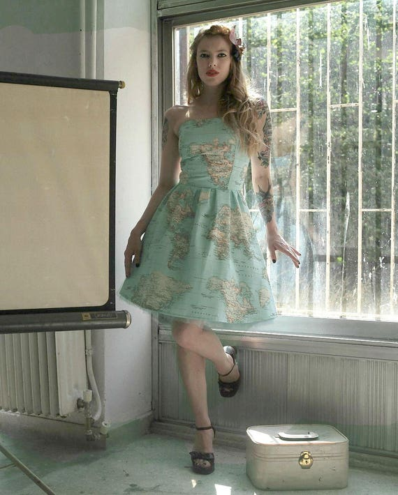 World map dress printed strapless cotton summer dress map of gumiabroncs Gallery