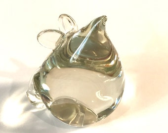 Clear Glass Mouse Paperweight.