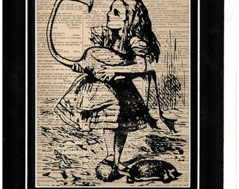 200 Antique dictionary Alice in Wonderland art