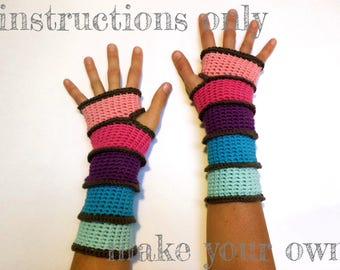 INSTRUCTIONS ONLY - Crochet your own Segmented Mitts -- cozy cotton Fingerless Armwarmers Gloves Pattern Download
