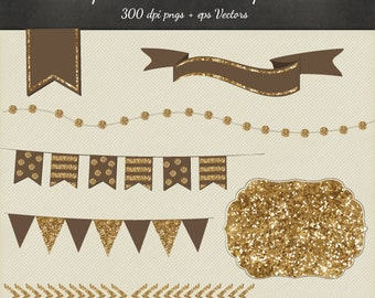 Glitter Christmas Clipart Vector 8 Piece Pack - 6 Designs PNG Files & EPS Vectors - Digital Scrapbook Bunting Garland Ribbon Frame Chevron