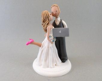 Customized Bride & Groom Computer Geek Wedding Cake Topper