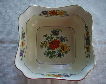 RARE Square 8 inch square serving Bowl with brightly colored floral decor made in CZECHESLAVEKLA Wonderful condition beautiful bowl