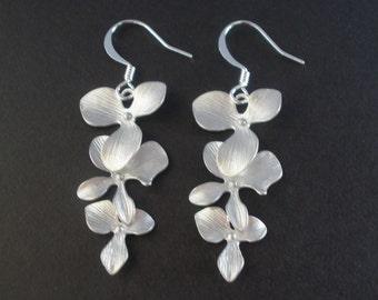 Silver Orchid Earrings, Silver Flower Earrings,Three Flower, Dangle, Silver Earrings, Bridesmaid Earrings, Bridesmaid Gifts, Bridal Earring