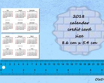 2018 Calendars Printable Mini, 86 x 54 mm, Credit Card,Planner,PDF File, 2018 calendar, calendars, Digital Download, Printable, Instant