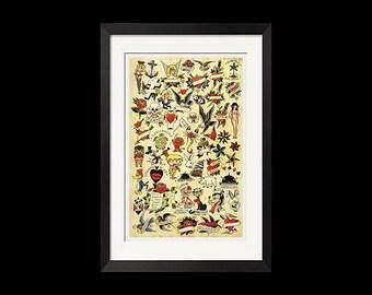 26x40 Print - Sailor Jerry Vintage Tattoo Flash Poster Print 0320