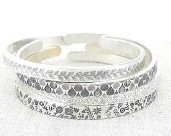 Thin Silver Cuff -  Pattern Cuff - Stacking Bracelet - Silver Jewelry - Personalized Bracelet - Handwritten Jewelry - Memorial Bracelet