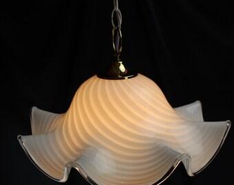 Murano Fazzoletto Art Glass White Latticeino Swag Light/Lamp Ruffled Edge