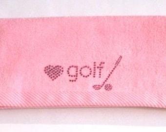 Love Golf- Bling Towel (Pink or Black)