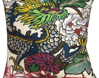 "Schumacher Chiang Mai Dragon Cushion Pillow Cover 18"" Ivory  Colourwa"
