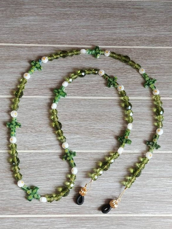 Green Glasses Chain, Religious Jewelry, Religious Gift Idea, Chain For Reading Glasses, Beaded Lanyard Grandma, Mom, For Her