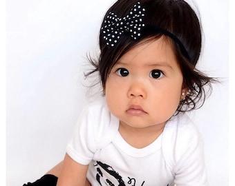 Black Polka Dot Hair Bow - Fabric Hair Bow - Black Fabric Hair Bow - Polka Dot Hair Clip - Summer Hair Bow - Rockabilly Hair Bow