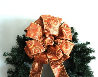 Christmas Bow, Wreath Bow, Tree Topper Bow, Brown Bow, Copper Bow, Bronze Bow, Gold Swirls