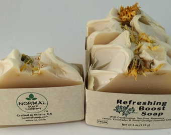 Refreshing Boost Soap Essential Oil Soap, Handmade Soap, Calendula Soap