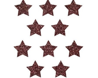 Pattern, fusible, small, Star, large, badge, patch, Brown glittery 15x15mm