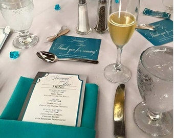 Wedding Menu, Gold Wedding Menu, Floral Menu Card, Reception Menu, Menu Card, Teal Menu Card, 4 x9 Menu Card, Menu Card, Custom Menu Card